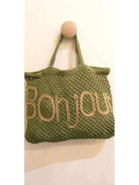 Sac Bonjour crochet vert kaki