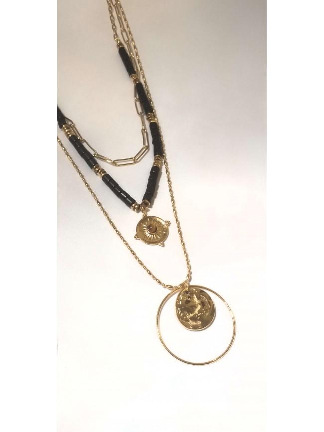 Collier Mishka plaqué or - médailles