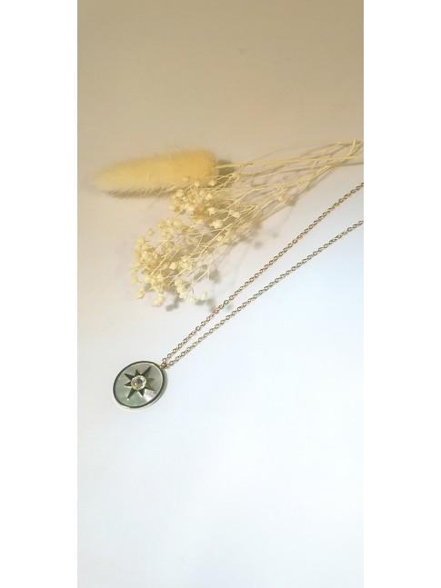 Collier Popy plaqué or, émail et pierre de Zirconium